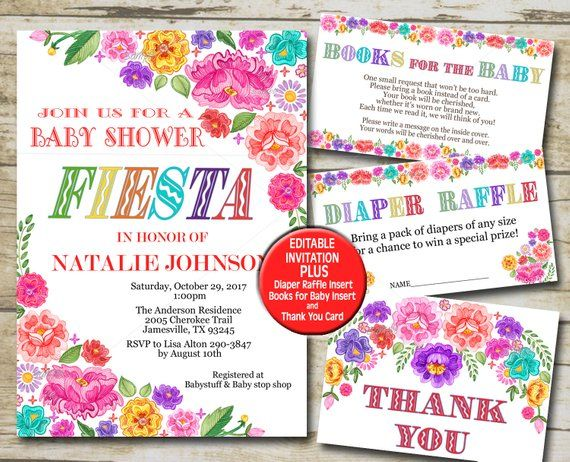 Fiesta Baby Shower Invitation Set Editable Invitation