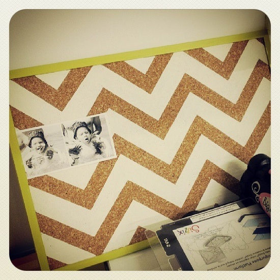Diy chevron corkboard so doing this to my corkboard for Kitchen cork board ideas