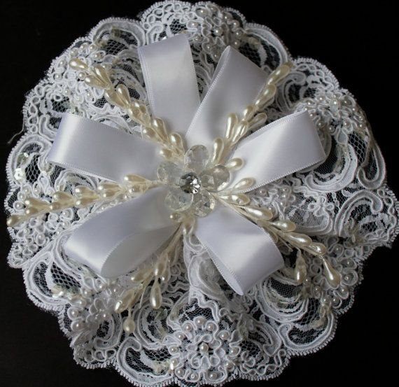 Shower Bridal Corsage White Beaded Lace by FavorsBoutique on Etsy, $28.00