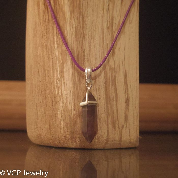 Chakra Ketting - Amethist Kristal: waxkoord ketting diverse kleuren