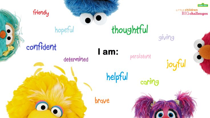 You Sesame Street friends can your child find positive words to describe herself!   Find FREE Downloadable resources for your preschooler at: www.sesamestreet.org/challenges