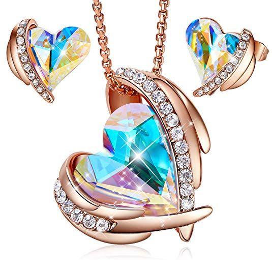 62badd70358f3 Amazon.com: CDE Pink Angle Women's Jewelry Set Swarovski Crystals ...