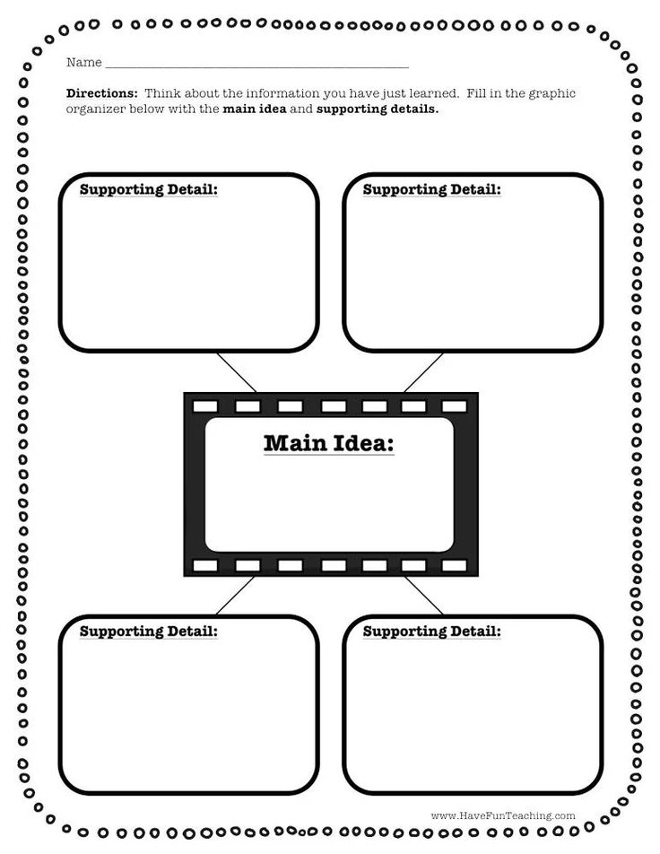 Main Idea and Four Supporting Details Graphic Organizer