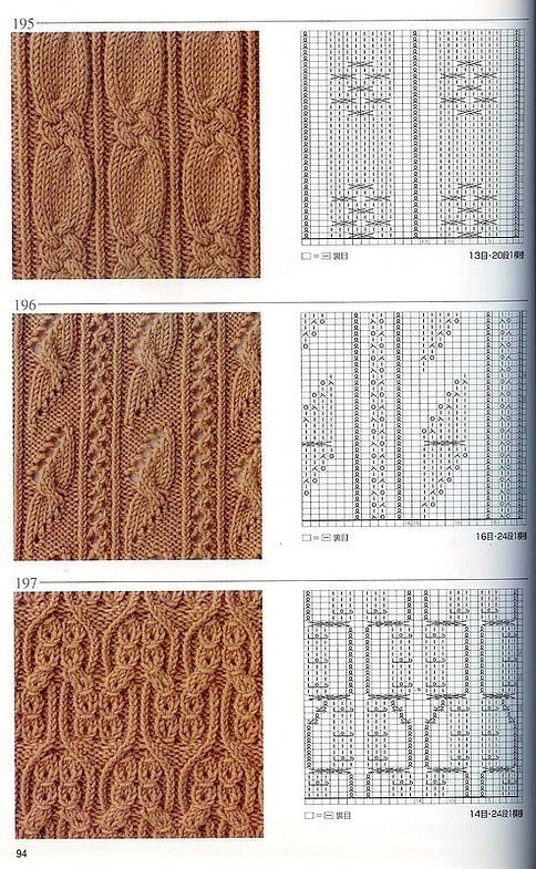 Японская книга узоров (спицы) 195-197