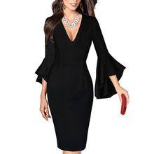 $10.79 -  2018 Fashion New Vintage Dress Women Sexy Deep V-Collar Flare Sleeve Dress Elegant Party Female Dresses Canonicals Femme Robe