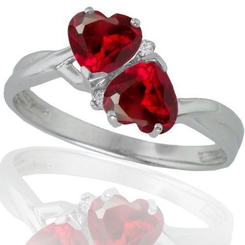 ($137.00) 10k White Gold Created Ruby and Diamond Heart Ring (.02 cttw, I-J Color, I1 Clarity)   From Amazon.com Collection