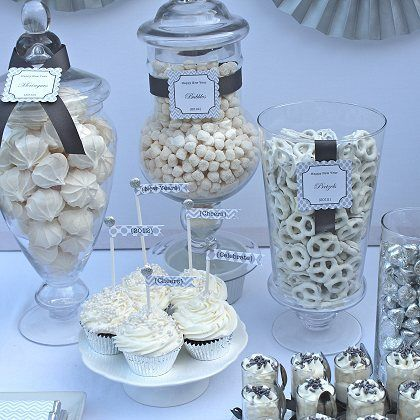 Candy Buffet  Put monochromatic candy colors to match party theme inclear containers.  Add a coordinating ribbon or two.