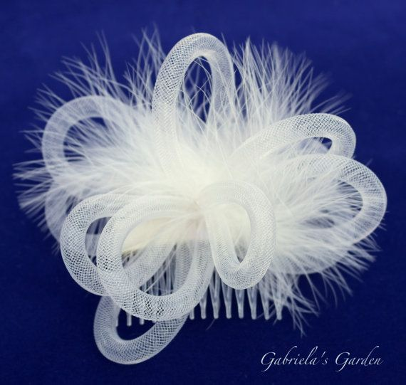 Ivory Fascinator, Ivory Fluffy Marabou Feathers, Ivory Tube Crin Crinoline Horsehair Braid, Ivory Hair Accessory, Comb: