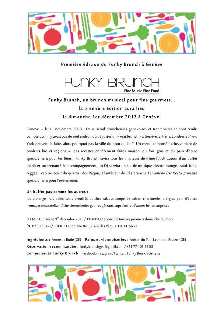 Funky Brunch Genève le premier dimanche du mois 40 chf buffet a volonté avec espace enfant