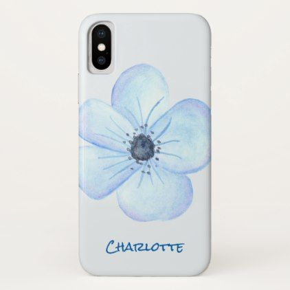 Romantic Blue Flower Watercolor Custom Name iPhone X Case - girly gifts special unique gift idea custom