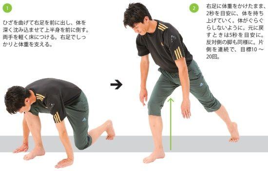 レジスタンス運動 2~下肢ワンレッグスクワット   太く強い筋肉をしっかり刺激する。全身の約70%の筋肉が集中している殿部から下肢にかけてを刺激する。太くて強い筋肉が多いので、普段の生活やゴルフ程度の歩行では、活性化させるための負荷にはならない。強い負荷と大きな動きで筋肉群に刺激を加えていこう。