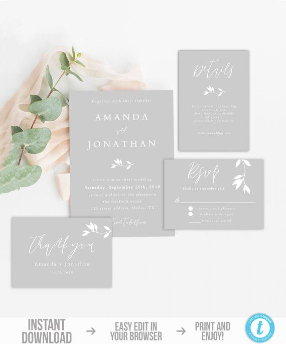 Wedding Invitation Set Template Printable Grey Wedding Etsy In 2020 Grey Wedding Invitations Wedding Invitation Kits Wedding Invitation Sets