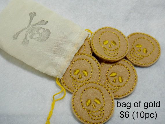 Pirate Dress Up Bag of Gold by lilliannamarie on Etsy