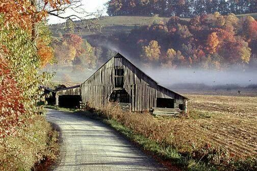 Misty country road with old barn