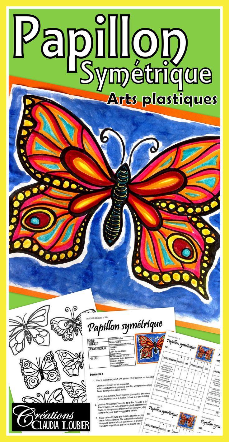 Le printemps est arrivé et avec lui... les papillons! Apprenez à vos élèves à dessiner de magnifiques papillons, tout en travaillant  la symétrie, les lignes et les motifs.  Pour 2e année et plus. Pour les premières année, plus de supervision. Vous aurez besoin de feutres de couleurs, de crayon de bois noir ou de feutre permanent et de gouache en pain.  Ce document contient la démarche complète pour réaliser le projet, la grille d'évaluation et les photos explicatives.