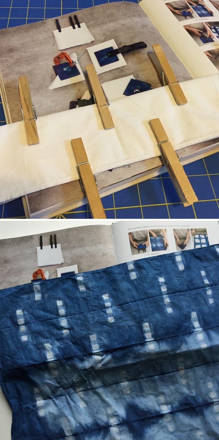 Indigo dyeing with clamping technique (clothespins)