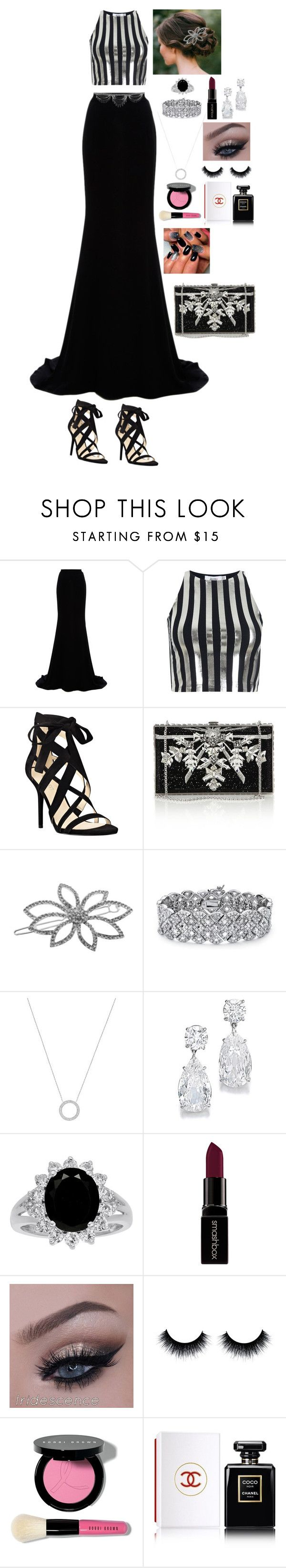 """""""Black and silver outfit"""" by ynessica ❤ liked on Polyvore featuring Naeem Khan, Bundy & Webster, Nine West, Judith Leiber, L. Erickson, Palm Beach Jewelry, Michael Kors, Smashbox, Bobbi Brown Cosmetics and Chanel"""