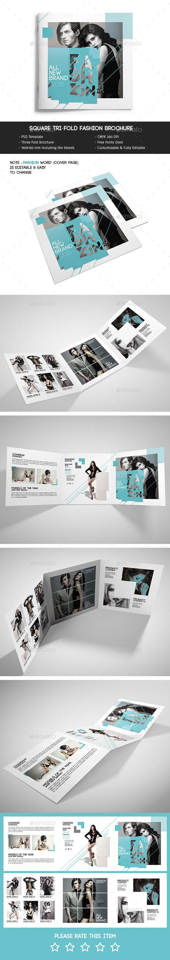 Square TriFold Fashion Brochure — Photoshop PSD #square brochure #clean • Available here → https://graphicriver.net/item/square-trifold-fashion-brochure/11587366?ref=pxcr