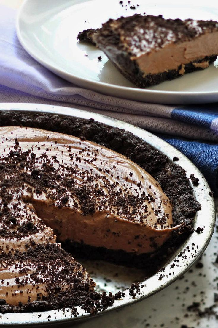 Light yet rich, this magical dessert is like the grown-up version of the chocolate pudding pie of your youth. It requires a bit more work, but nothing terribly taxing. Just whip melted chocolate, butter and eggs into a mousse, and then pour it all into a chocolate cookie crust. Chill and enjoy. It's the perfect make-ahead dessert for a crowd.