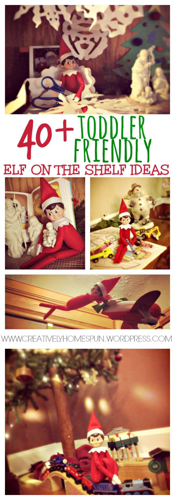 40+ Toddler Friendly Elf on the Shelf Ideas #elfontheshelf #toddleractivities #holidaytradition