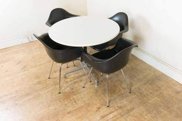 Vintage Retro Vitra Table And 4 Dax Plastic Armchairs   Charles And Ray Eames | vinterior.co
