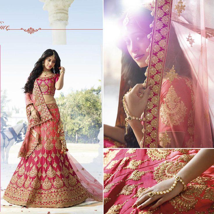 Bridal Wedding Lehenga Indian Pakistani Choli Dupatta Set Bollywood Womens Wear #Handmade #LehengaCholiDupatta #WeddingPartyWear