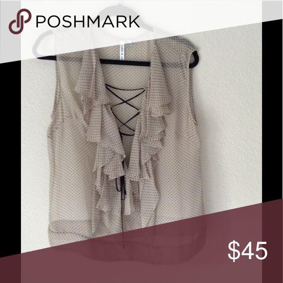 polka dot blouse sheer, definitely needs a cami! no flaws, great shape. Robbi & Nikki by Robert Rodriguez Tops Blouses