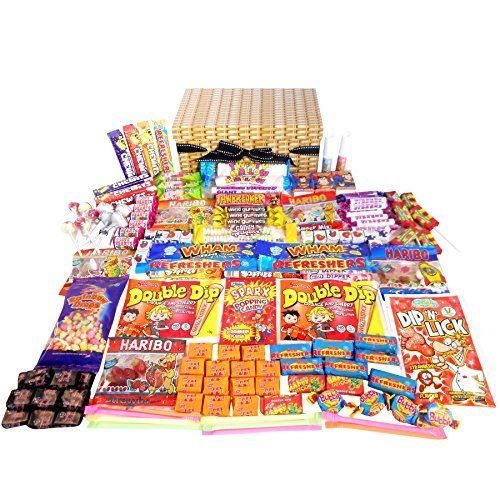 Retro Sweet Hamper In A Wicker Effect Box (wicker Effect Hamper Crammed Full Of Retro Sweets)