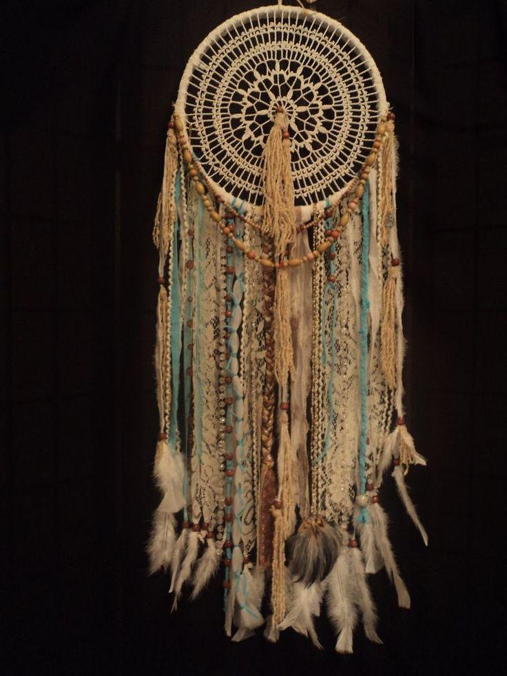 Large Dream Catcher Aqua White Shabby Chic Boho Hippie Wall Hanging Lace Doily