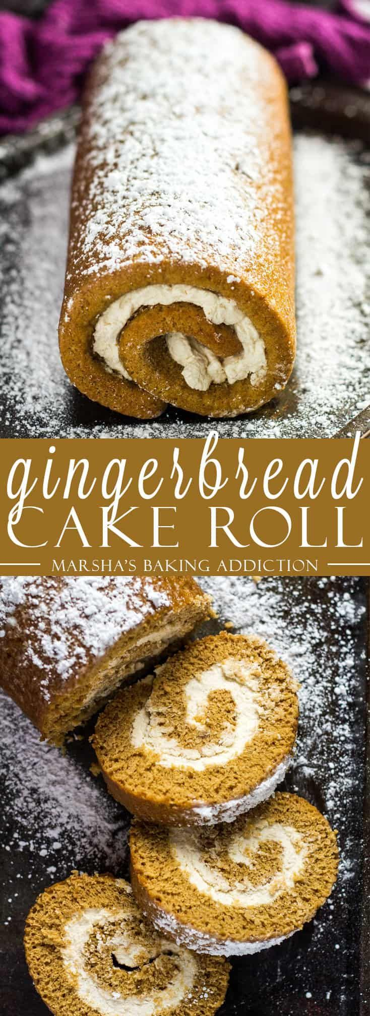 Gingerbread Cake Roll- Deliciously moist and fluffy gingerbread cake roll that is loaded with warm, cozy flavours, and filled with homemade spiced whipped cream! Recipe on marshasbakingaddiction.com #swissroll #gingerbread #cake #Christmas
