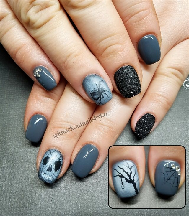 Day 295 Gray Spider Nail Art Halloween Nails Fancy Nails Sparkly Nails