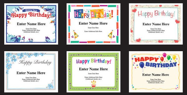 Happy Birthday certificates - Templates enable you to personalize - happy birthday certificate templates