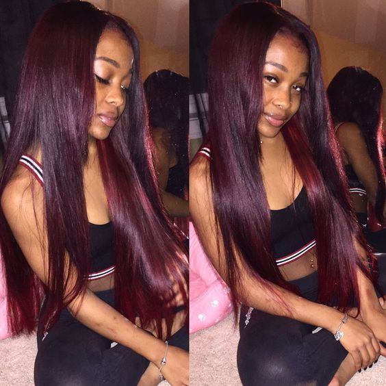 Burgundy Brazilian Virgin Hair Straight Cheap 100% Red Human Hair Straight Burgundy Brazilian Hair Weave 4 Bundles Color #99J