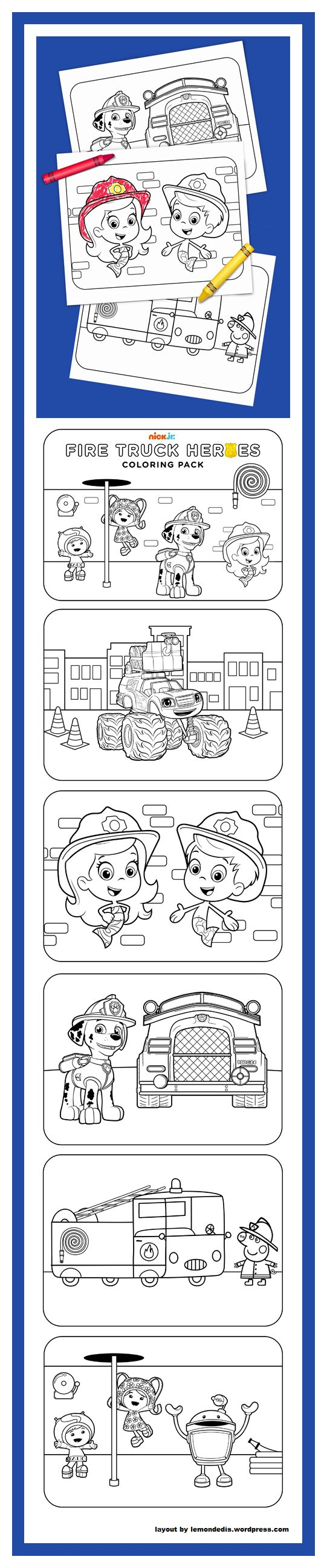 Ni nick jr games and coloring on online - Fire Truck Heroes Printable Coloring Pack Nick Jrnickelodeonfire