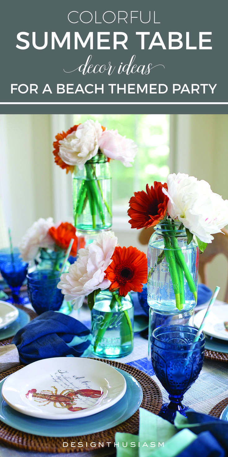 Colorful Summer Table Decor Ideas For A Beach Themed Party | Simple Rustic Table  Decorations For