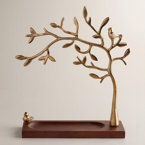 Gold Tree Jewelry Stand with Wooden Base  at Cost Plus World Market >> #WorldMarket Fashion, Gifts for Her, Mother's Day