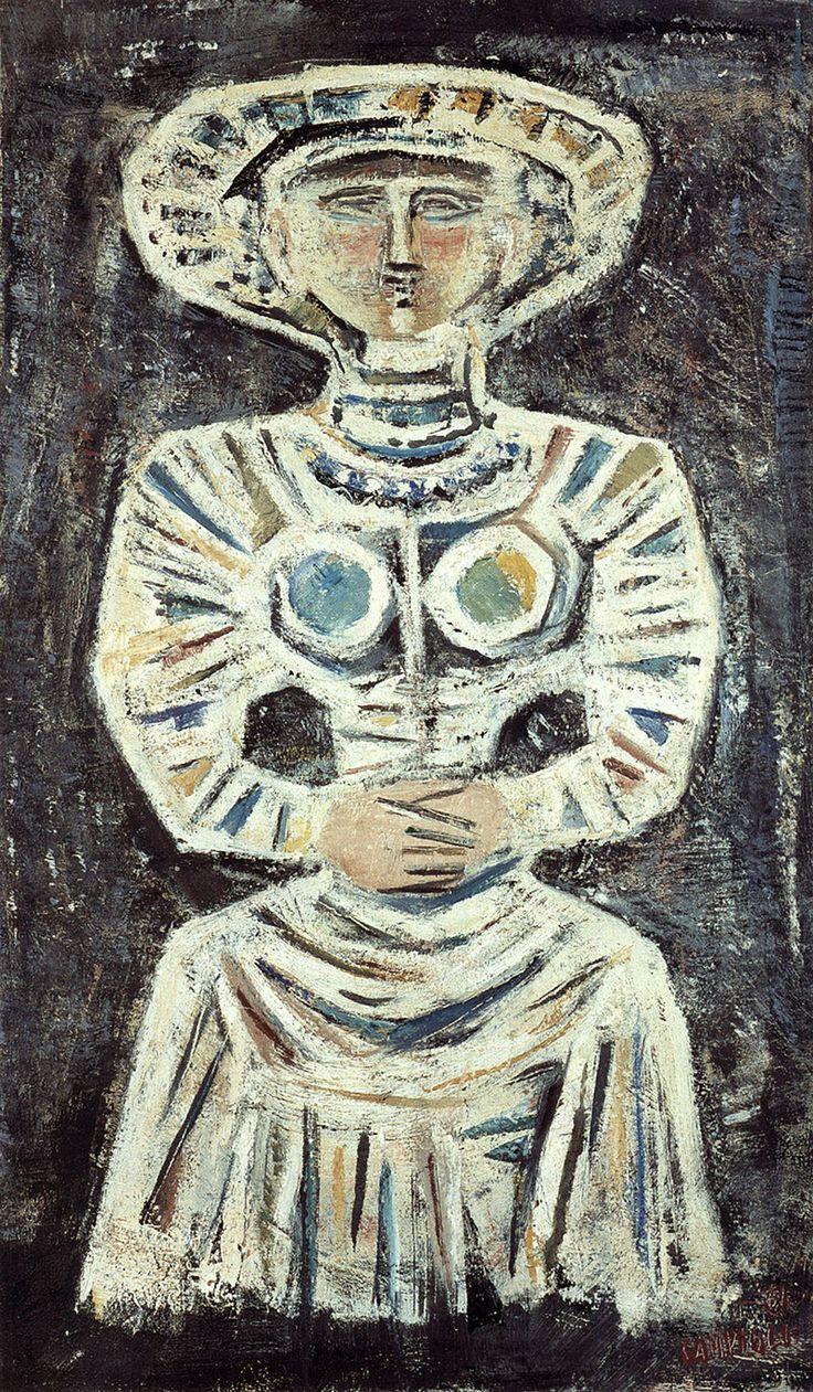 Massimo Campigli, Femme assise, 1961, olio su tela, #TuscanyAgriturismoGiratola