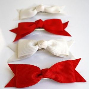 Bambini bows Red and ivory