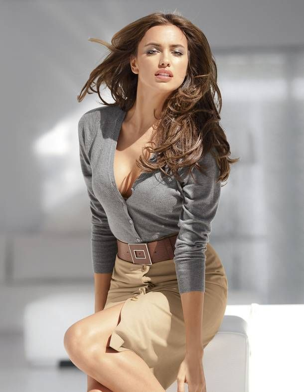 Irina Shayk. Grey and neutral. I'd wear white instead of grey...
