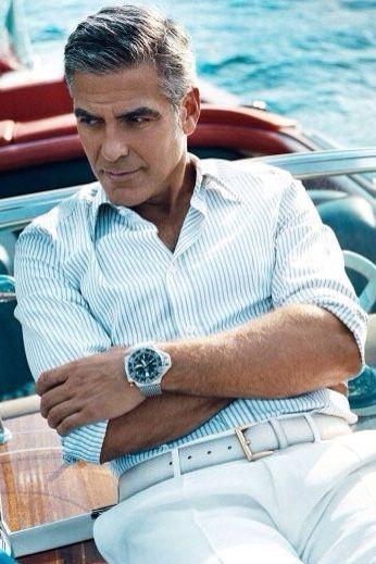 George Clooney wearing an Omega Ploprof on a bracelet.