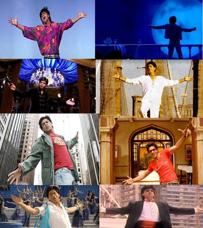 SRK signature pose: Darr, Om Shanti Om, Don, Kal Ho Naa Ho, Kabhi Alvida Naa Kehna, Rab Ne Bana Di Jodi, Billu Barber, Yes Boss.