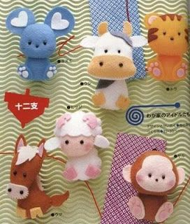 felt animal patterns - love the mouse and cow!