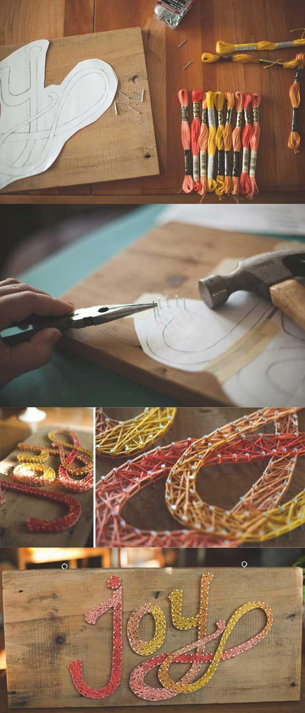 Easy String Wall Art Ideas for Bedroom Decor   Joy String Art by DIY Ready at http://diyready.com/easy-teen-room-decor-ideas-for-girls/