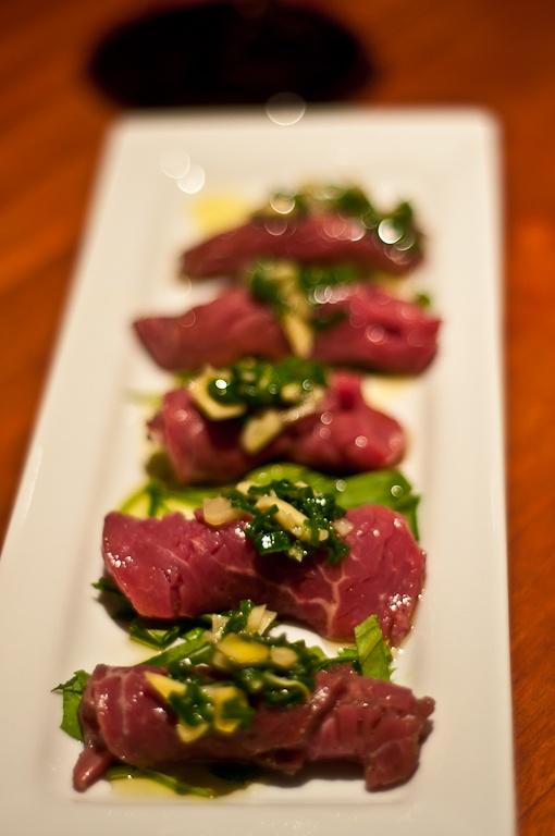 Morimoto-inspired Beef Carpaccio  http://www.ramirosalas.com/2011/12/05/morimoto-inspired-beef-carpaccio/