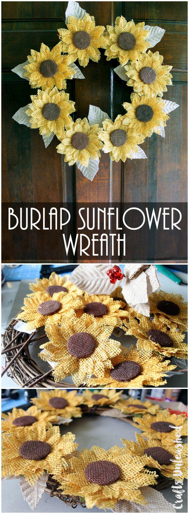 Burlap Sunflower Wreath DIY                                                                                                                                                                                 More