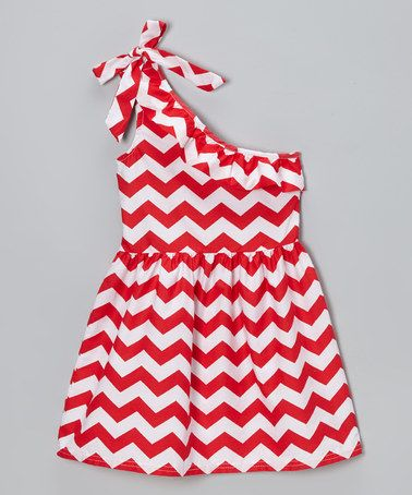 Red Zigzag Ruffle Asymmetrical Dress - Toddler & Girls #zulily #zulilyfinds