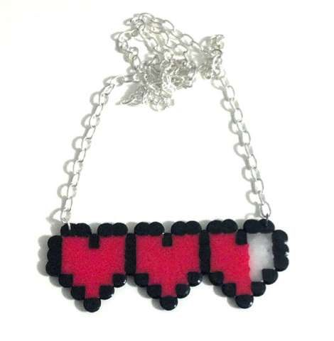 The 8-Bit Heart Meter #Necklace is a Fun Way to Say I Love You #Valentines #Jewelry