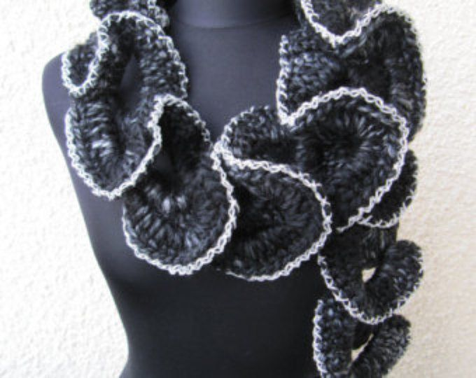 Crochet Scarf PATTERN-Chunky Crochet Ruffle Scarf Pattern Unique Design-Fast DIY Gift-Instant Download PDF Pattern No.115 by Lyubava Crochet