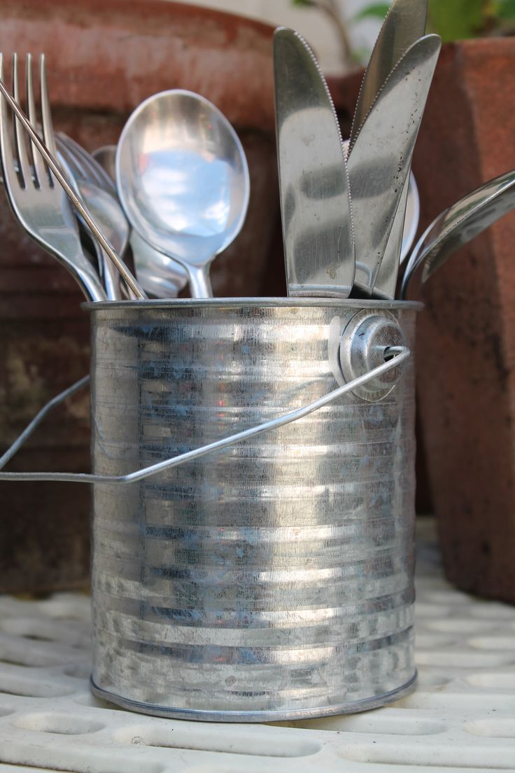 This cute, utilitarian metal pot is great for outdoors. Use it to store garden accessories, knives and forks for outdoor dining or to display pretty dried flowers. £3