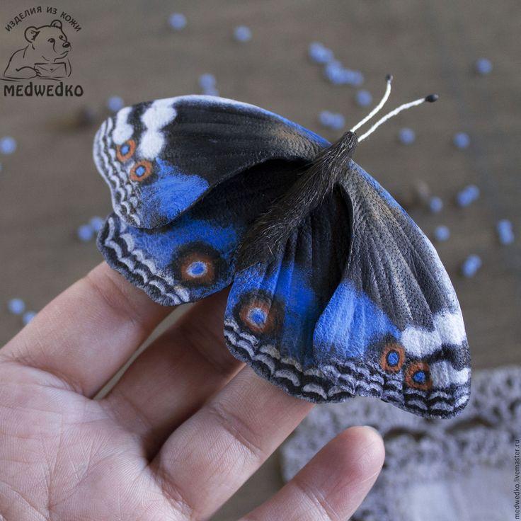 Купить Брошь из кожи Бабочка Blue Pansy-2 - голубой, бабочка, брошь, брошь бабочка